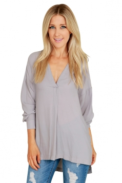 Womens Sexy High Low V Neck Long Sleeve Side Slit Plain Blouse Gray