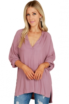 Womens Sexy High Low V Neck Long Sleeve Side Slit Blouse Light Purple