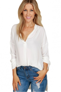 Womens Sexy High Low V Neck Long Sleeve Side Slit Plain Blouse White