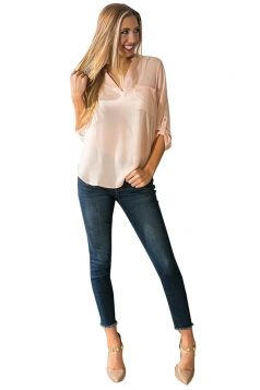 Womens Chiffon High Low V Neck Long Sleeve Pocket Plain Blouse Apricot