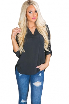 Womens Chiffon High Low V Neck Long Sleeve Pocket Plain Blouse Black