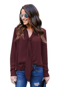 Womens Elegant Cuffed Sleeve V Neck Front Tie Chiffon Blouse Ruby