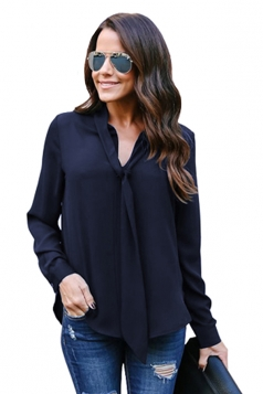 Womens Elegant Cuffed Sleeve V Neck Front Tie Chiffon Blouse Navy Blue