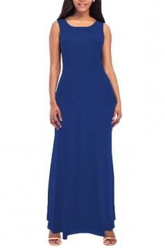 Womens Elegant Crew Neck Sleeveless Cotton Tank Plain Maxi Dress Blue