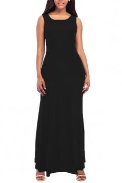 Womens Elegant Crew Neck Sleeveless Cotton Tank Plain Maxi Dress Black