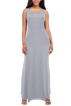 Womens Elegant Crew Neck Sleeveless Cotton Plain Maxi Dress Light Gray