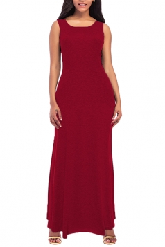 Womens Elegant Crew Neck Sleeveless Cotton Tank Plain Maxi Dress Ruby
