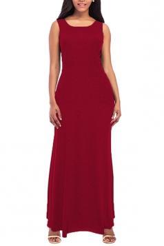 Womens Elegant Crew Neck Sleeveless Cotton Tank Plain Maxi Dress Ruby