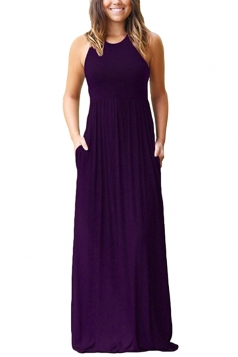 Womens Elegant Halter Sleeveless Loose Pleated Plain Maxi Dress Purple