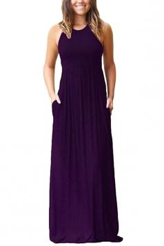 Womens Elegant Halter Sleeveless Loose Pleated Plain Maxi Dress Purple