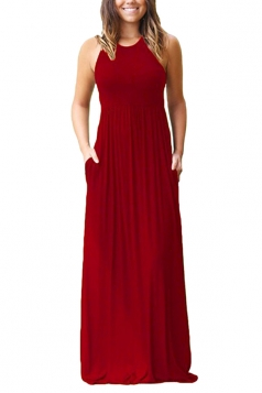 Womens Crew Neck Halter Sleeveless Plus Size Pocket Maxi Dress Red