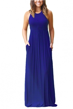 Womens Halter Sleeveless Loose Pleated Plain Maxi Dress Sapphire Blue