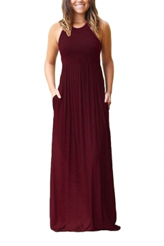 Womens Crew Neck Halter Plus Size With Pocket Plain Maxi Dress Ruby
