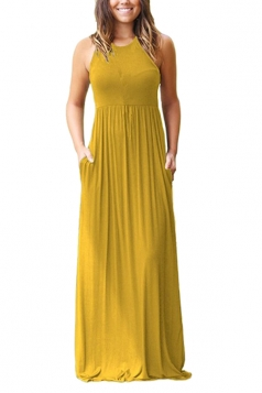 Womens Elegant Halter Sleeveless Loose Pleated Plain Maxi Dress Yellow