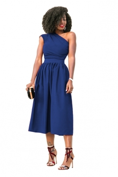 Womens Sexy One Shoulder Sleeveless Bandage Waist Midi Dress Blue