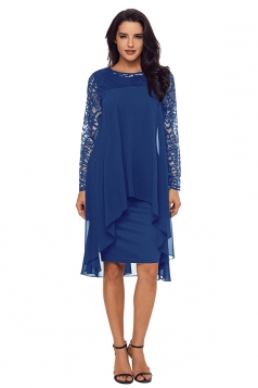Womens Elegant Crew Neck Long Sleeve Lace Double Layer Midi Dress Blue
