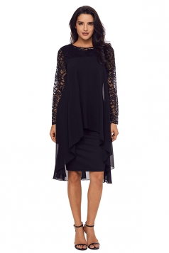Womens Crew Neck Long Sleeve Loose Lace Double Layer Midi Dress Black