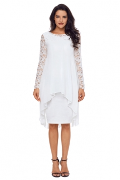 Womens Crew Neck Long Sleeve Loose Lace Double Layer Midi Dress White