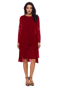 Womens Elegant Crew Neck Long Sleeve Lace Double Layer Midi Dress Ruby