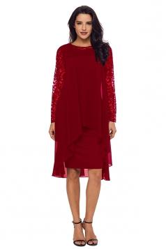 Womens Elegant Crew Neck Long Sleeve Lace Double Layer Midi Dress Ruby