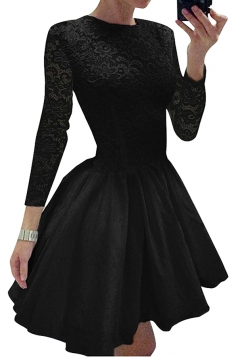 Womens Elegant Long Sleeve Lace Plain Mini Skater Evening Dress Black