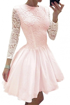 Womens Crew Neck Long Sleeve Lace Plain Mini Skater Evening Dress Pink