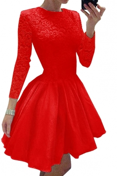Womens Crew Neck Long Sleeve Lace Plain Mini Skater Evening Dress Red