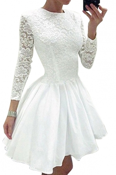 Womens Elegant Long Sleeve Lace Plain Mini Skater Evening Dress White