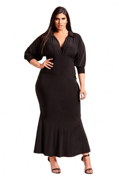 Wmens Sexy V Neck Long Sleeve Plus Size Pleated Plain Maxi Dress Black