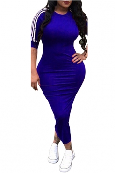 Womens Casual Half Sleeve Crew Neck Midi Plain Bodycon Dress Blue