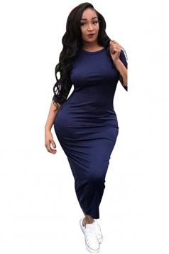 Womens Casual Half Sleeve Crew Neck Midi Plain Bodycon Dress Navy Blue