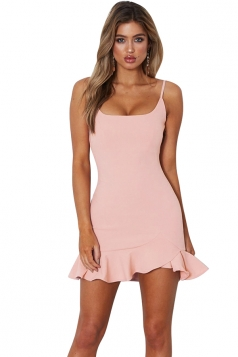 Womens Sexy Spaghetti Strap Ruffle Hem Backless Tank Dress Light Pink