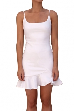 Womens Sexy Spaghetti Strap Ruffle Hem Backless Plain Tank Dress White