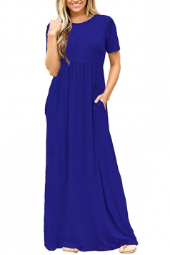 Womens High Waisted Short Sleeve Pocket Plain Maxi Dress Blue