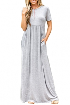 Womens High Waisted Short Sleeve Pocket Plain Maxi Dress Gray