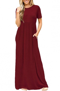 Womens High Waisted Short Sleeve Pocket Plain Maxi Dress Ruby