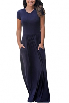 Womens High Waisted Short Sleeve Pocket Plain Maxi Dress Navy Blue