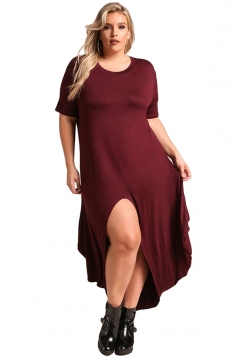 Womens Stylish High Low Split Short Sleeve Midi Plus Size Dress Ruby