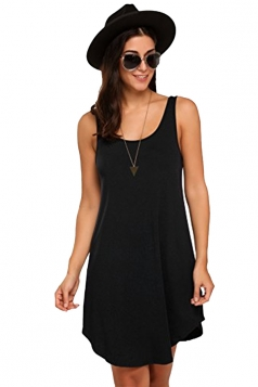 Women Casual Crew Neck Sleeveless Cotton Plain Loose Tank Dress Black