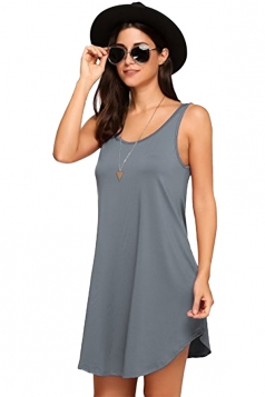 Women Casual Crew Neck Sleeveless Plain Loose Tank Dress Light Gray