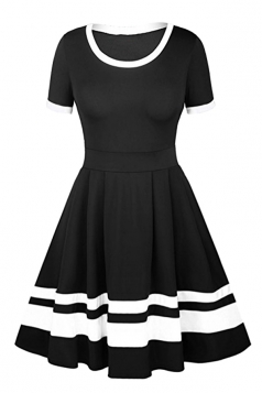 Womens Crew Neck Short Sleeve Stripe Patchwork Midi Skater Dress Black