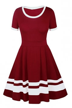Womens Crew Neck Short Sleeve Stripe Patchwork Plain Skater Dress Ruby