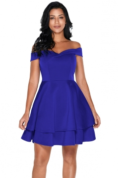 Womens Off Shoulder Short Sleeve Layered A Line Prom Skater Dress Blue