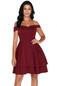 Womens Off Shoulder Short Sleeve Layered A Line Prom Skater Dress Ruby