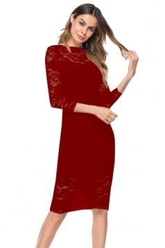 Womens Elegant 3/4 Length Sleeve Plain Lace Midi Evening Dress Red