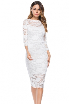 Womens Elegant Bodycon Plain Lace Party Midi Evening Dress White