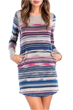 Womens Casual Crew Neck Stripe With Pocket Mini Long Sleeve Dress Blue