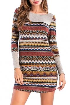 Womens Crew Neck Stripe Patchwork Pocket Mini Long Sleeve Dress Brown