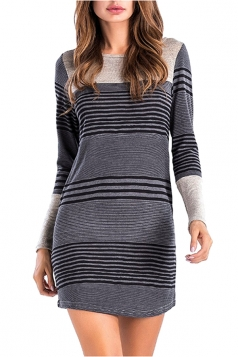 Womens Casual Crew Neck Stripe With Pocket Long Sleeve Dress Dark Gray
