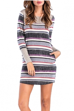 Womens Crew Neck Stripe Patchwork With Pocket Long Sleeve Dress Purple